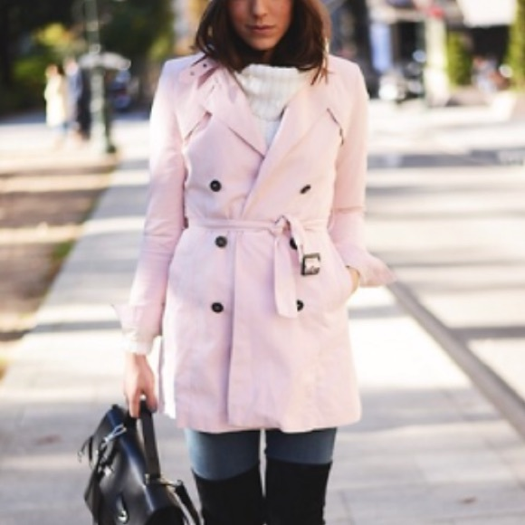 Buy Authentic sleek exquisite craftsmanship Zara double breasted pastel pink trench coat